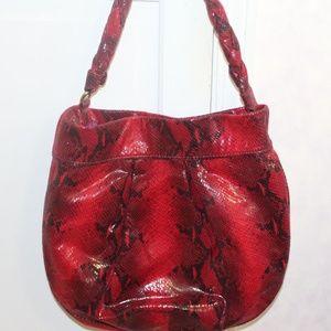 Gianni Bini Dark Red Snakeskin look Handbag